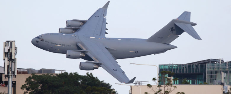 A Royal Australian Air Force C-17 at Riverfire Brisbane 2019