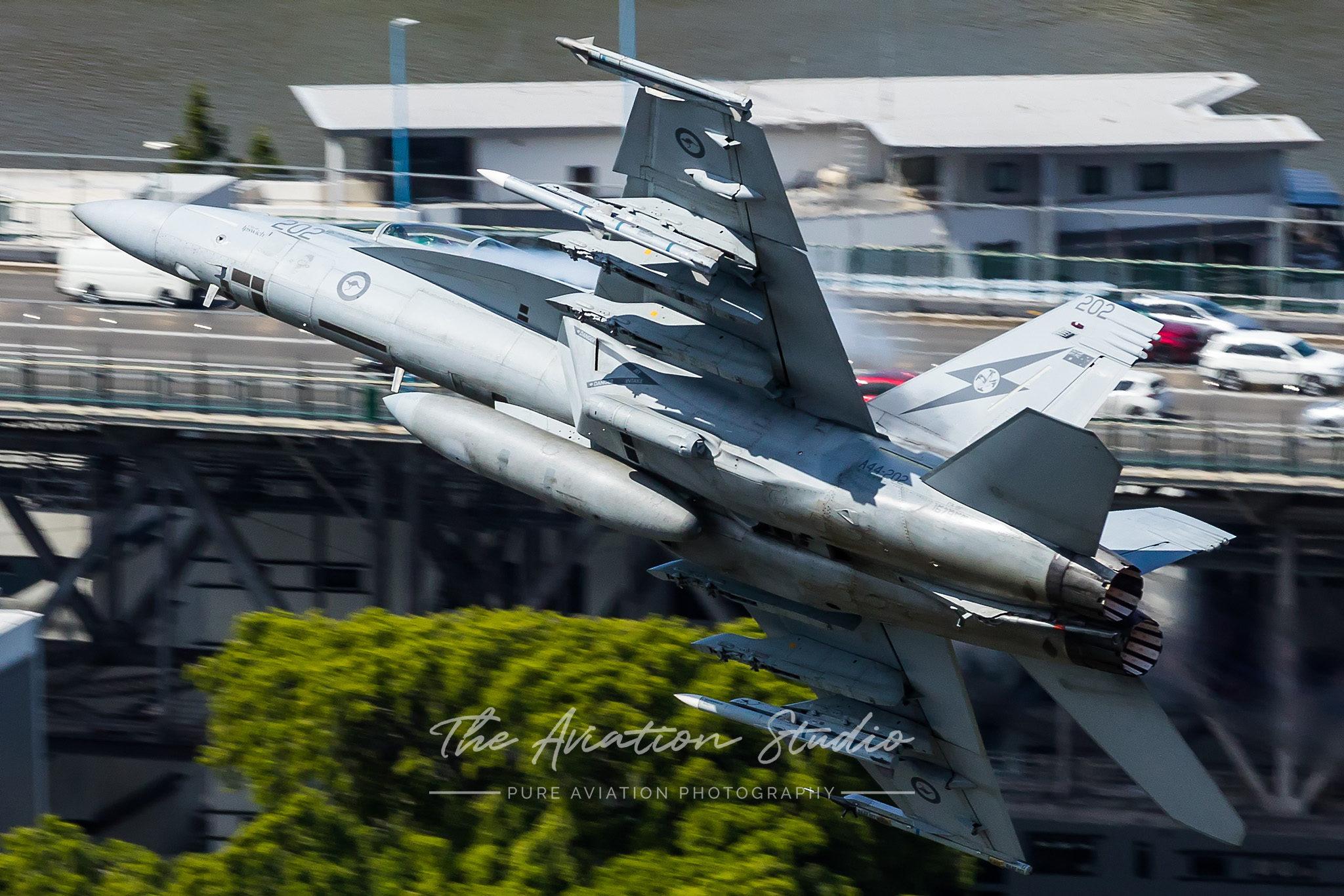 Riverfire RAAF Boeing F/A-18F Super Hornet A44-202 lighting the burners