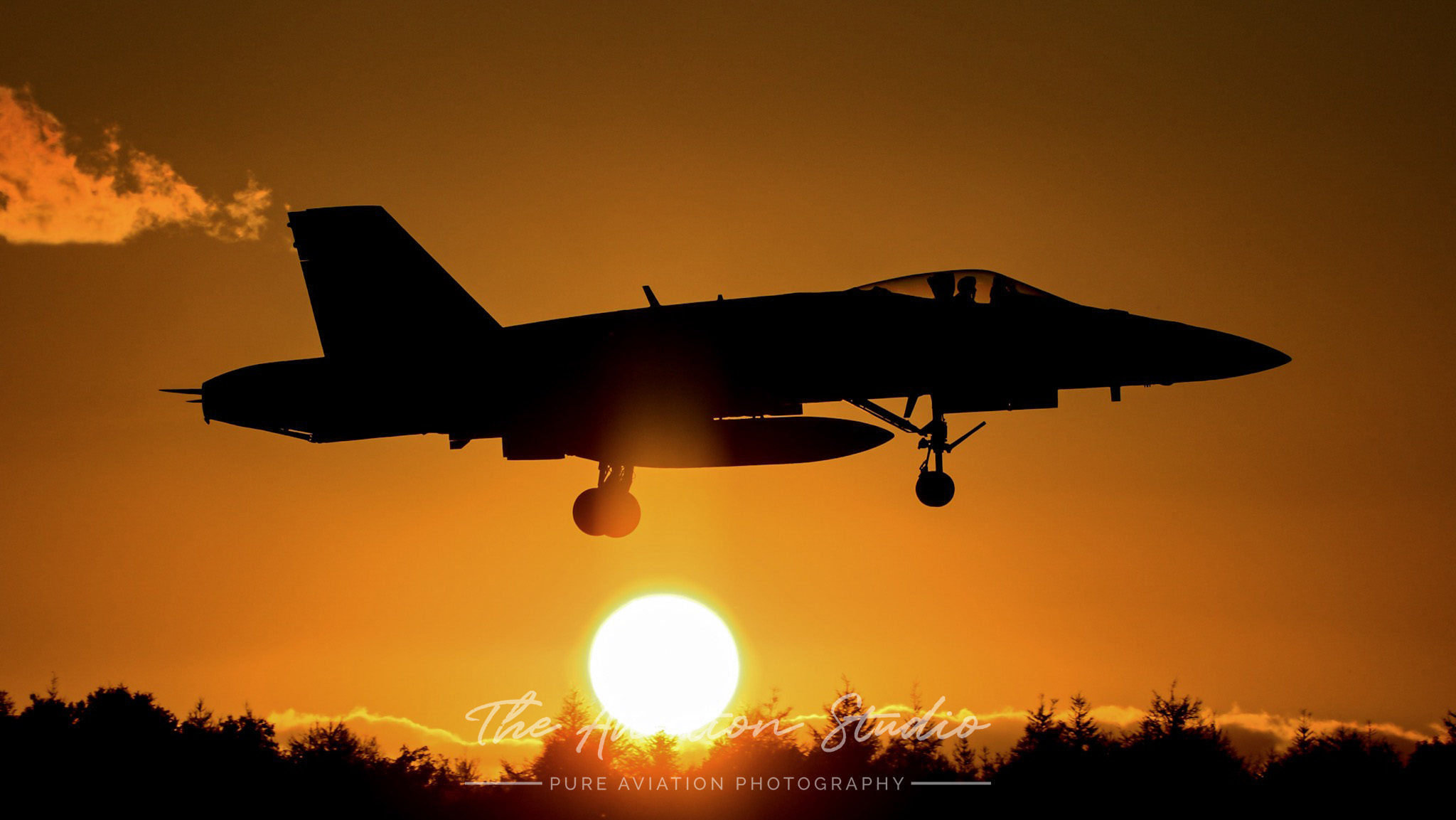 RAAF F/A-18A arriving into Chitose Air Base on sunset