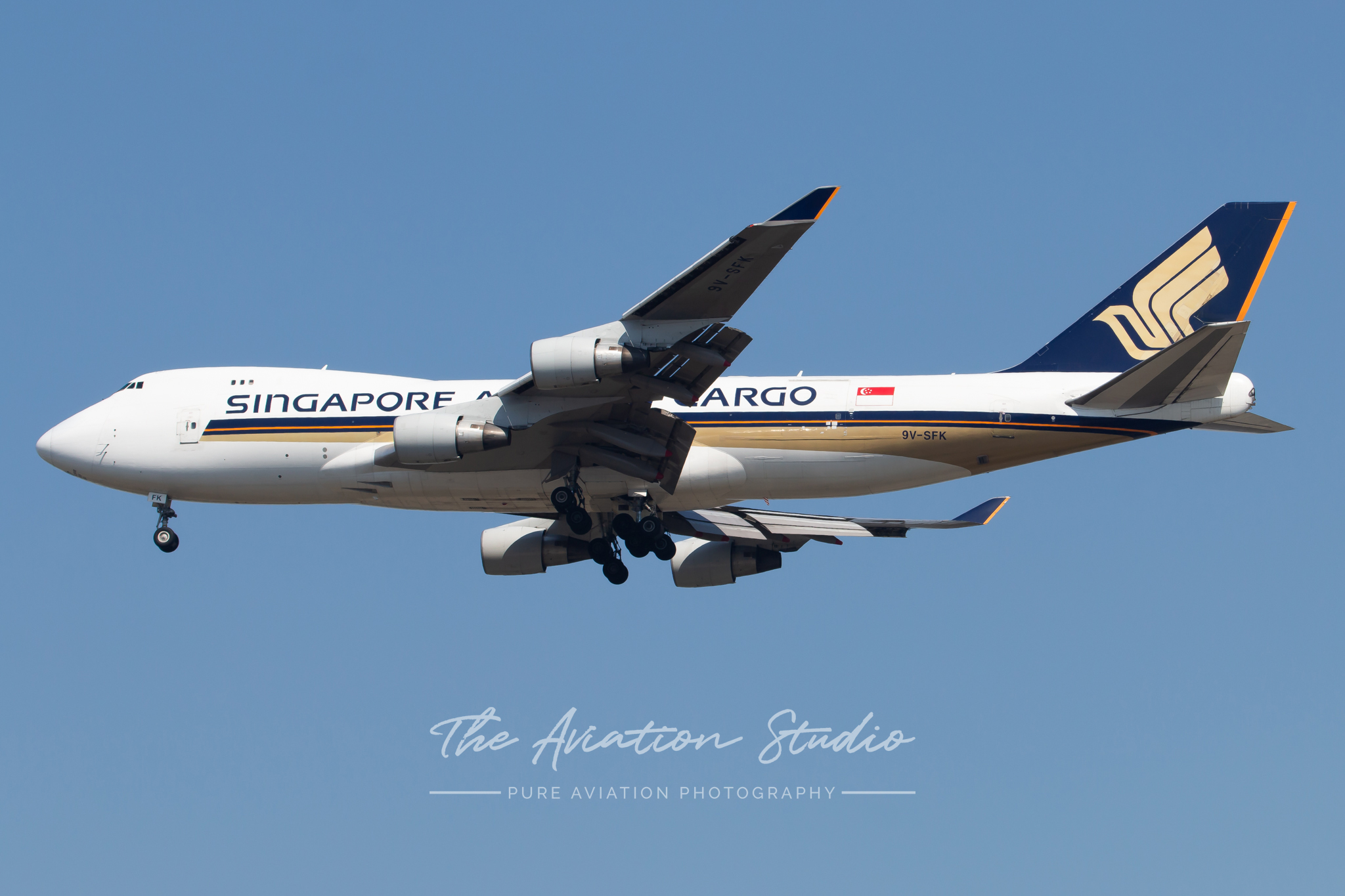 Singapore Airlines Boeing 747-400 carrying U2 world tour equipment.