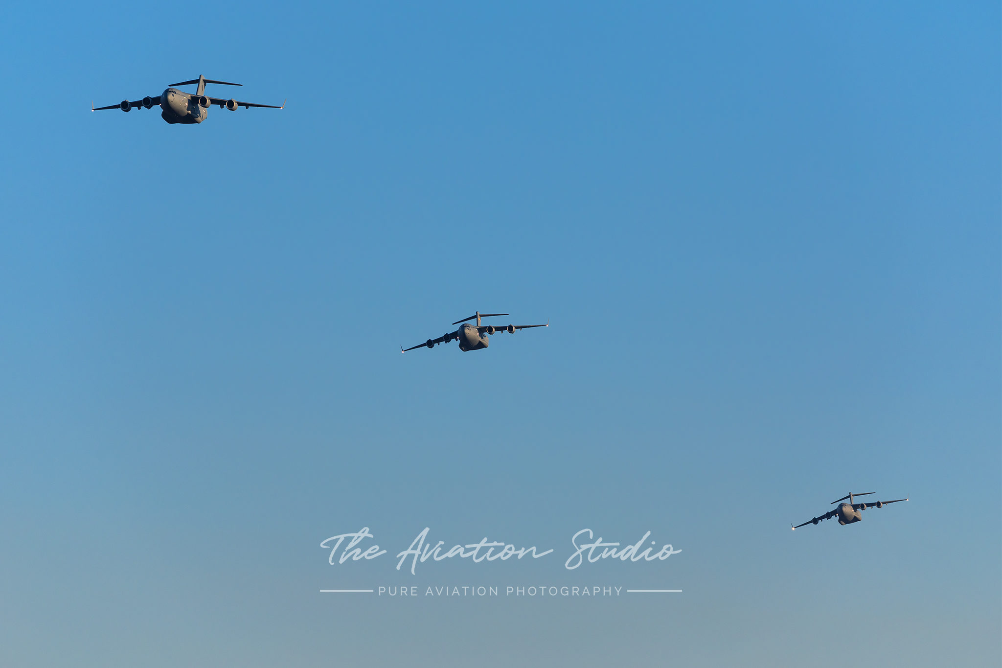 RAAF and USAF C-17 three-ship formation