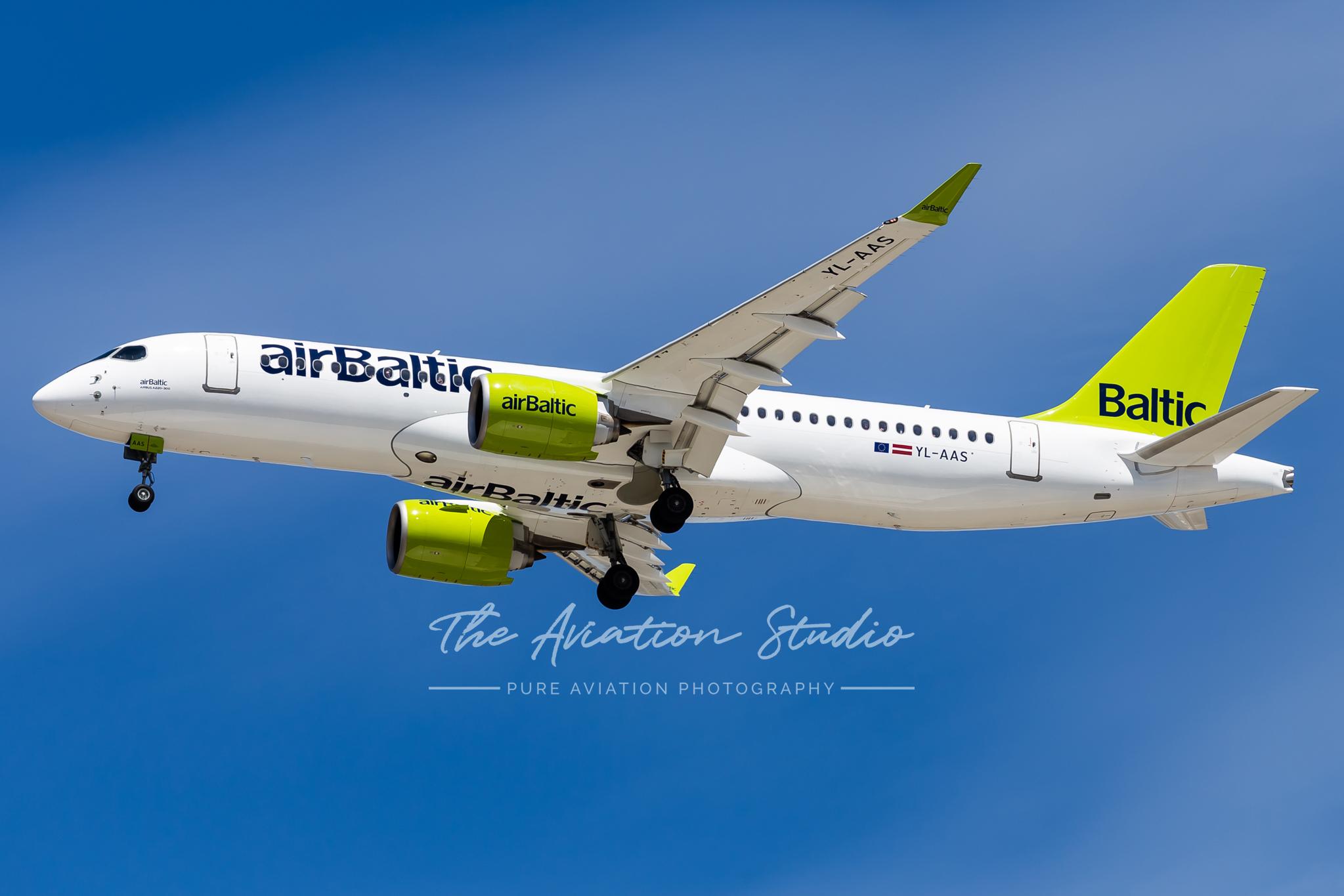 Air Baltic Airbus A220 landing at Brisbane Airport