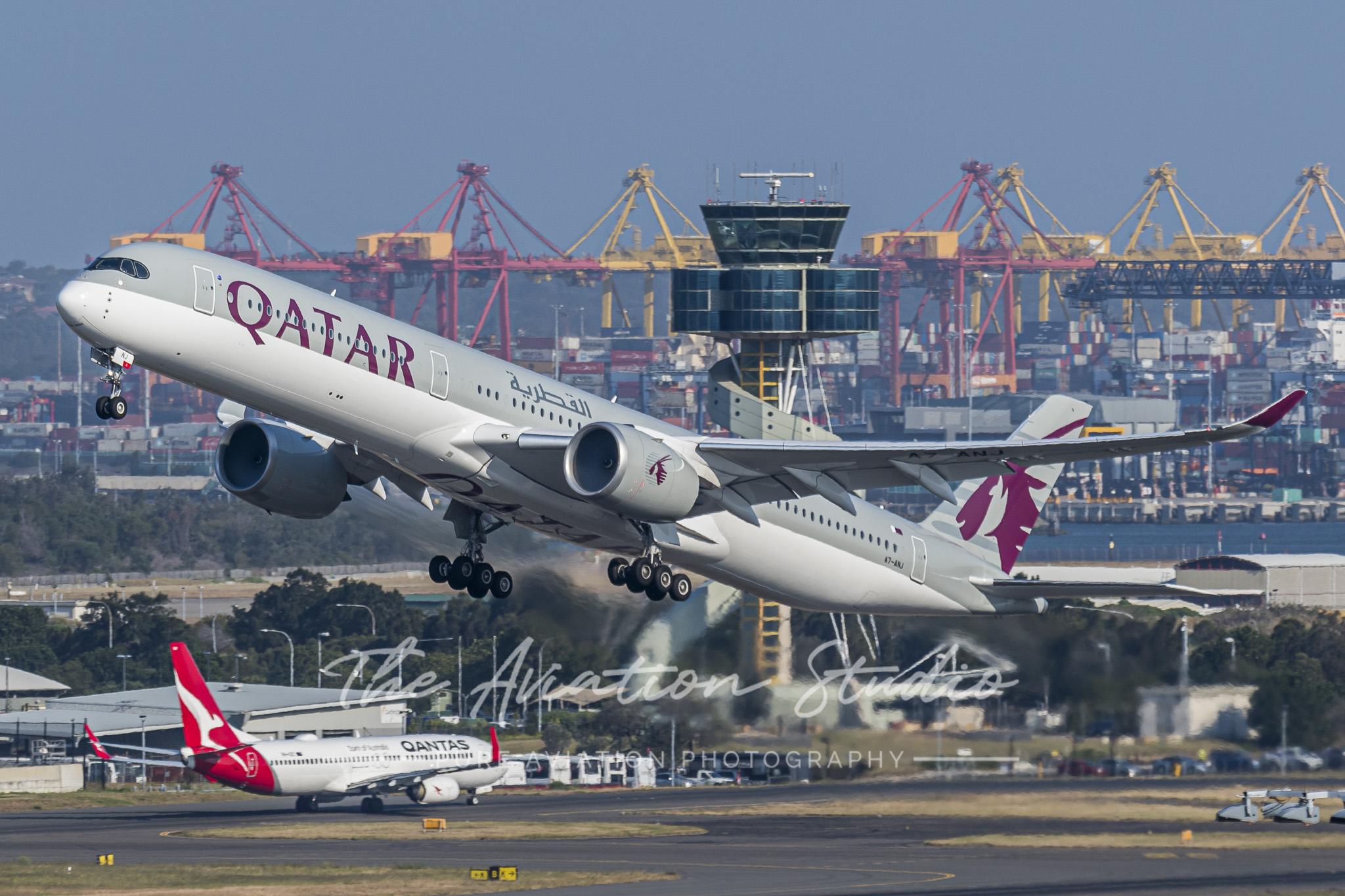 Qatar Airways' newest A350-1000, A7-ANJ (MSN 266) departing Sydney's Kingsford-Smith International Airport for Doha. (Image: Matt Savage)