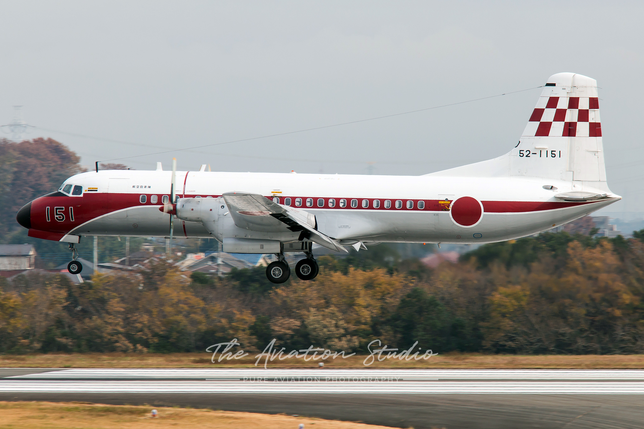 NAMC YS-11FC 52-1151 over the threshold at Iruma (Image: Brock Little)