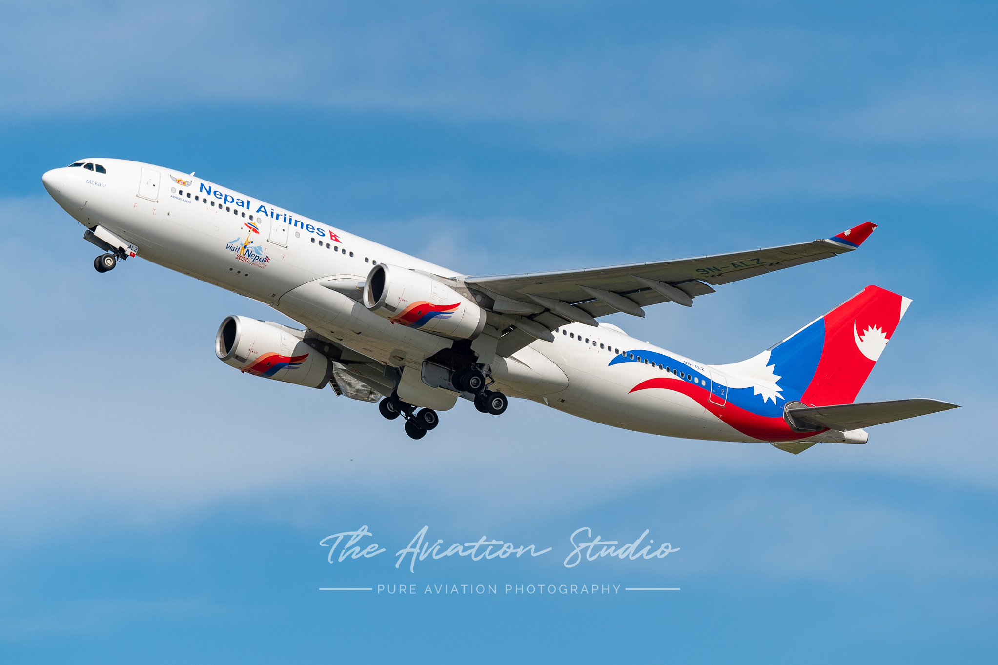 Nepal Airlines A330-200 9N-ALZ departing Brisbane for KUL as RA4132 after helping citizens come home during the COVID-19 outbreak (Image: Supplied)