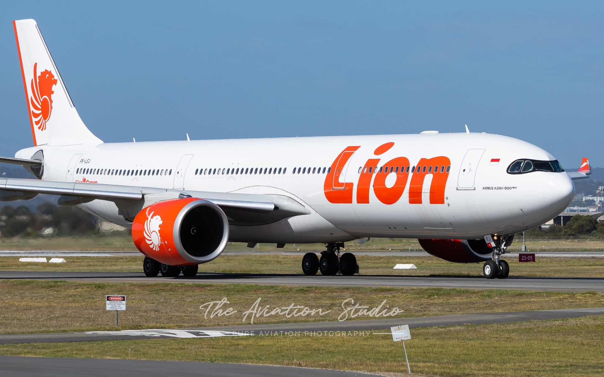 Lion Air Airbus A330neo PK-LEJ taxiing for departure at Adelaide (Image: Clayton Ferguson)