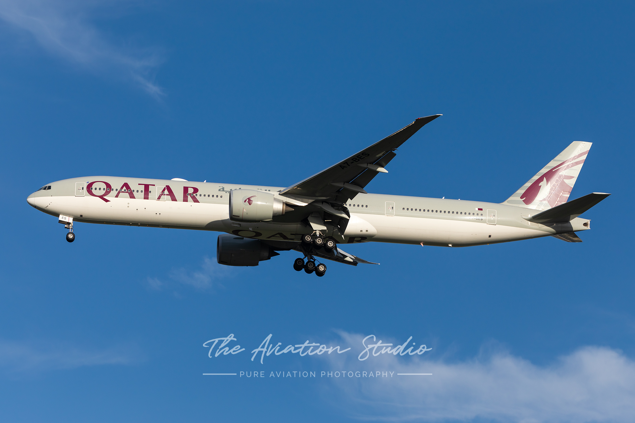 Qatar Airways 777-300ER A7-BES about to land at Brisbane for the first time with a scheduled service Photo: Lance Broad