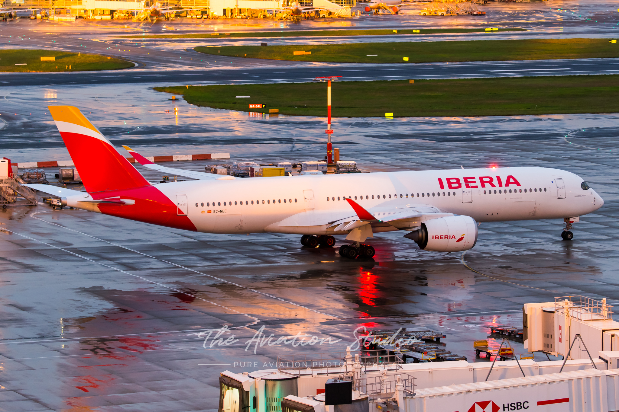 Iberia Airbus A350-900 EC-NBE taxis for departure to Bangkok (Image: Rory Delaney)