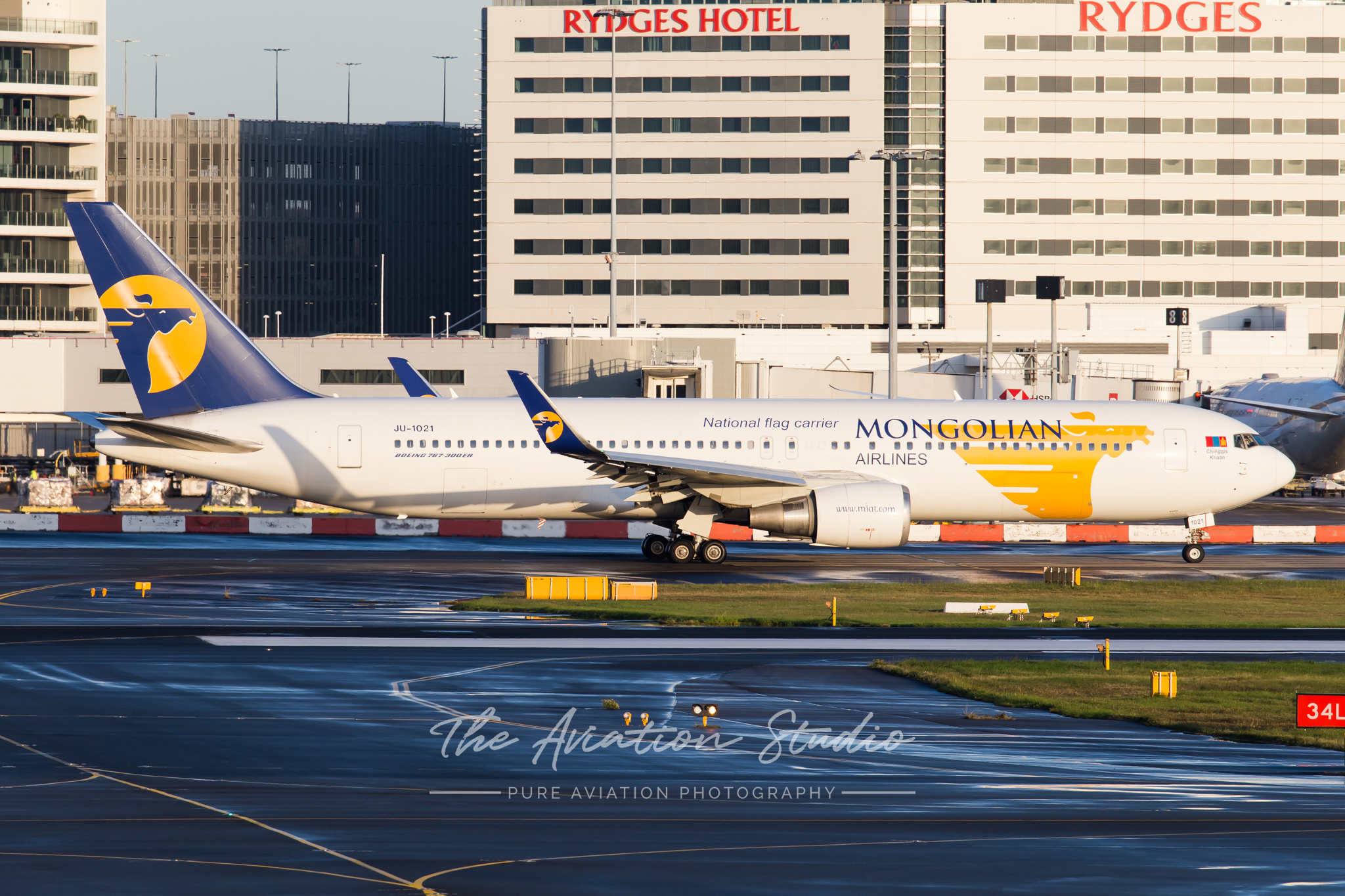 MIAT Mongolian Airlines Boeing 767-300ER JU-1021 taxis for departure at Sydney (Image: Rory Delaney)