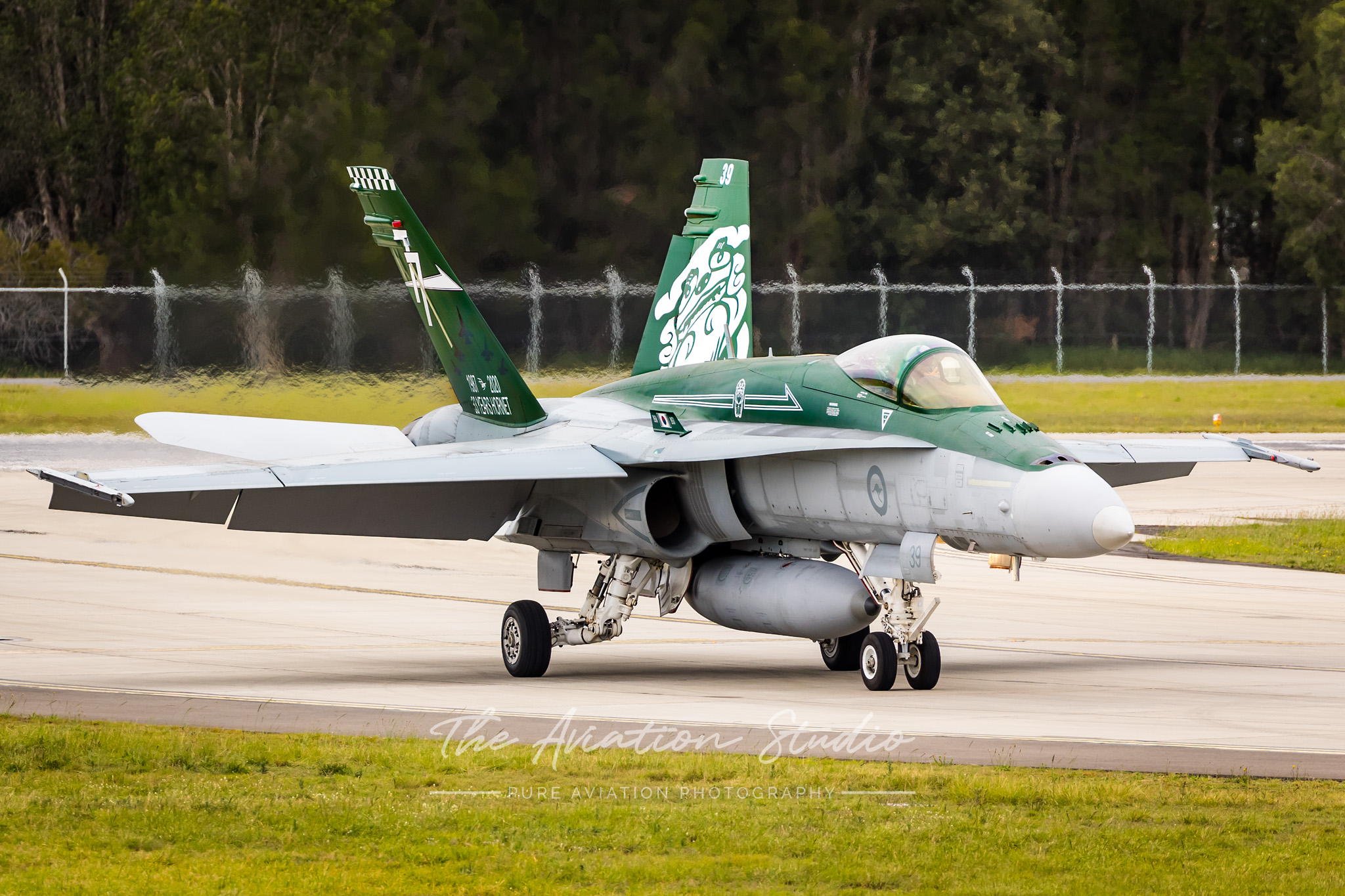 RAAF F/A-18A A21-39 vacating the runway at RAAF Base Williamtown (Image: Emil Cooper)