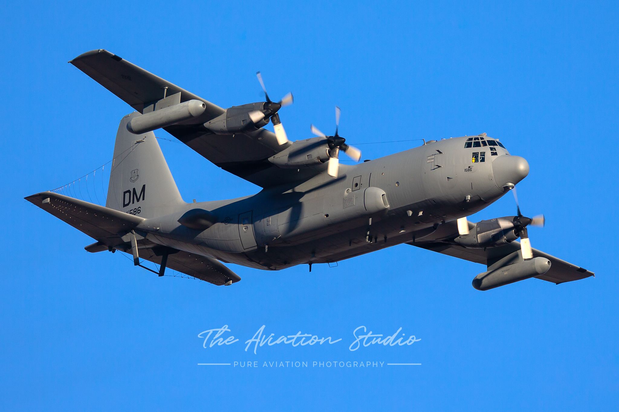 United States Air Force EC-130H from the 55th Electronic Combat Group in the overhead for Nellis AFB Red Flag 20-1