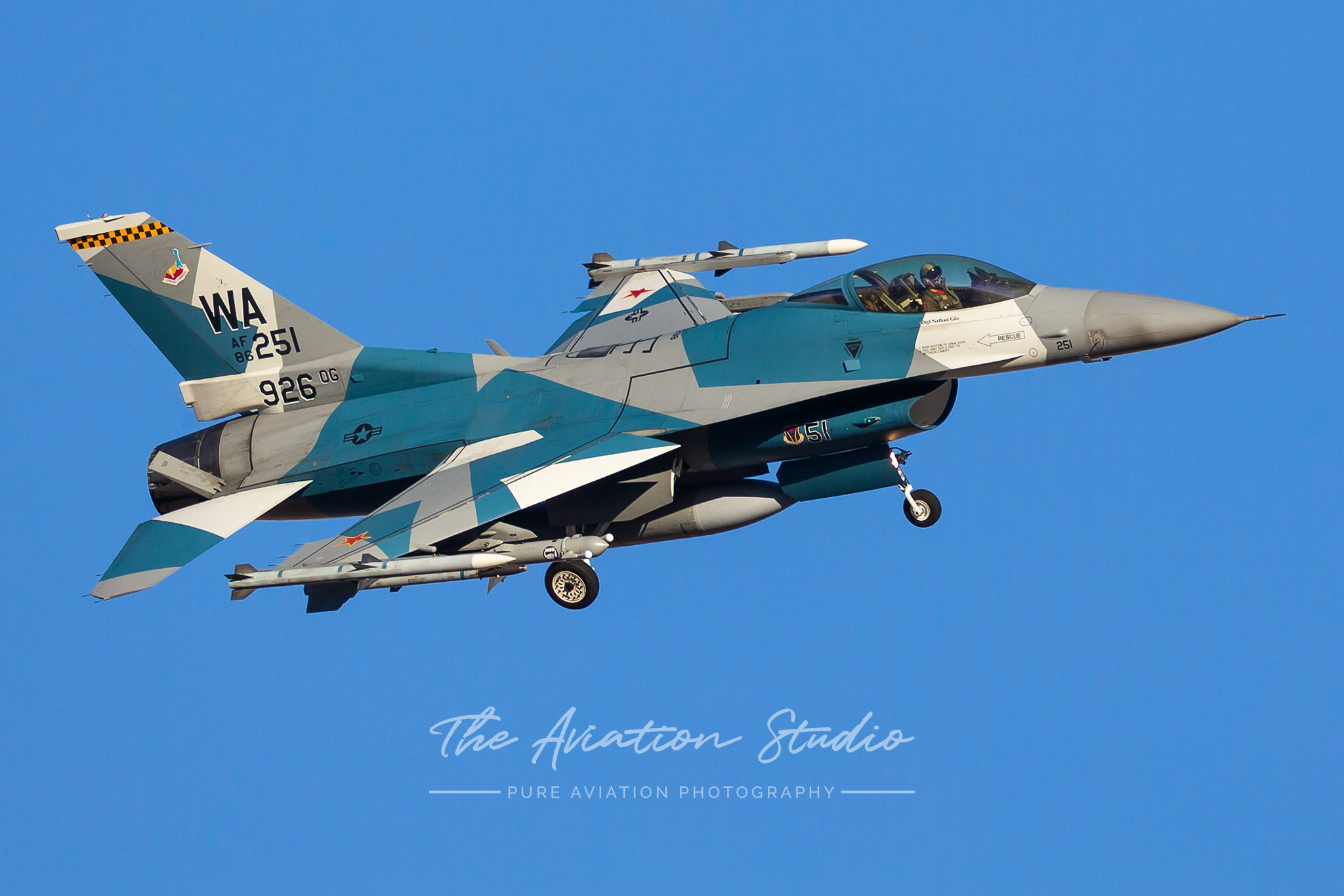 United States Air Force F-16C 86-0251 from the 64th aggressor squadron returns to Nellis AFB during Red Flag 20-1